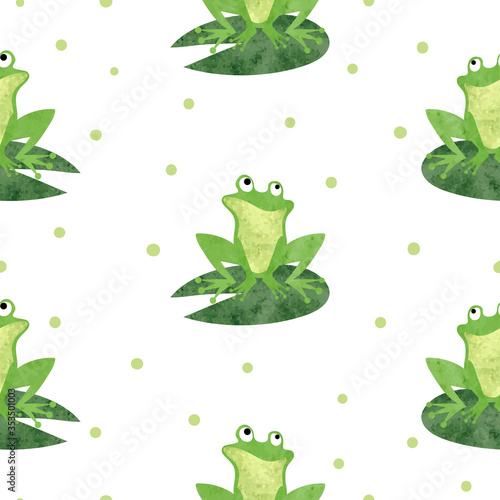 Valokuvatapetti Cute watercolor frog pattern. Seamless vector background.