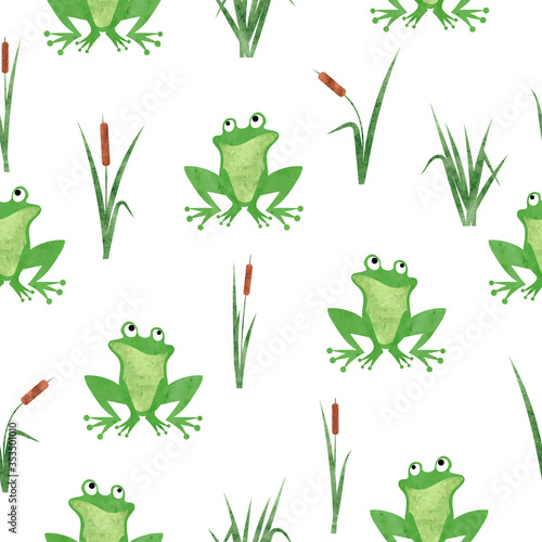 Fotografia Cute watercolor frog pattern. Seamless vector marsh background.