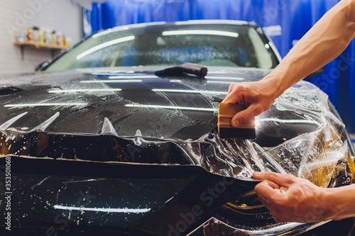 Transparent film, car paint protection, wrapping specialis Wallpaper Mural
