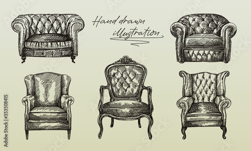 Hand-drawn sketch of collection of 5 armchairs of antique period Canvas Print