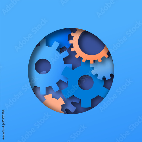 Obraz Paper cut cog wheel gear circle concept - fototapety do salonu