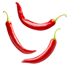 Flying Red Chili Peppers, Isolated On White Background