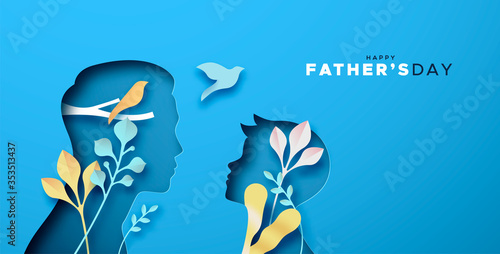 Obraz Happy father's day papercut card of dad with son - fototapety do salonu
