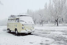 ARGENTINA, JUNE 2019: Classic Combi Covered With Snow Of The Route