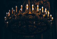 Church Ceiling Candelabrum, Candelabra With Candles