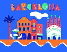 Barcelona Color Vector Background