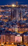 Fototapeta Nowy Jork - Aerial distant view of Barcelona city at twilight. Barcelona, Spain.