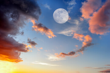 Uplifting Heavenly Ethereal Surreal Full Moon Clouds