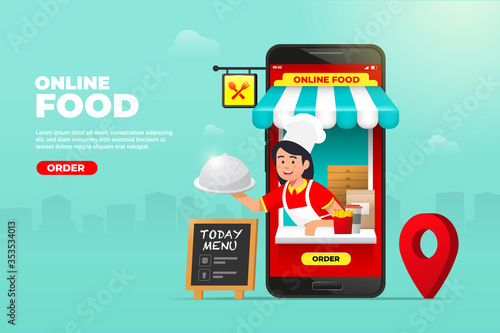 Obraz online food shopping on mobile phone. waiter with ready meals at hand service. fast food delivery order vector illustration. - fototapety do salonu