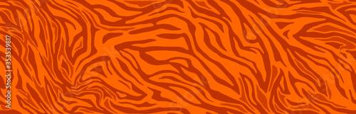 Fototapeta Animal skin print, seamless texture. Tiger fur, orange stripes pattern. Safari repeating background. Vector obraz