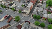 Top Down Static Aerial Of Street Intersection, Cross-walk On Main Street, Small Town America, Colonial Historic Neighborhood Community