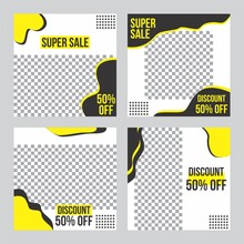 Set Of Super Sale Banner Yellow Black, Square Resolution