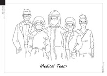 Vector Of Covid-19 Medical Team. Set Of Professional Doctors And Nurses Wearing Medical Face Mask And Protective Gear. Cartoon Style Artwork.