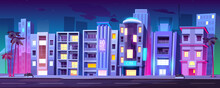 Night City Buildings, Hotels In Miami At Summer, Modern House Architecture, Skyscrapers, Restaurants And Stores With Glass Windows And Palm Trees Stand At Empty Roadside, Cartoon Vector Illustration