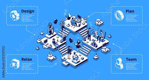 Obraz Coworking office infographics isometric landing page. Area separated on rooms for relax, plan, design and team communication. Workplace with people teamwork, freelance, 3d vector line art, web banner - fototapety do salonu