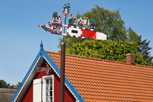 Wooden Carved Weather Vane In Preila, Lithuania.
