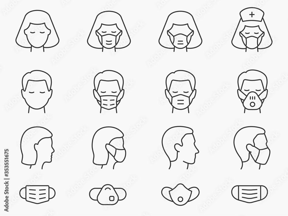 Fototapeta Medical face mask line icons set. Black vector illustration. Editable stroke.
