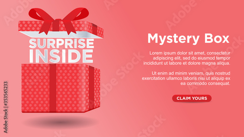 Obraz na płótnie mystery box surprise inside custom web page concept vector illustration