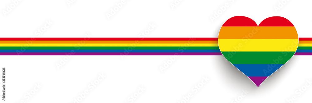 Fototapeta White Big Heart Rainbow Stripes Header 2