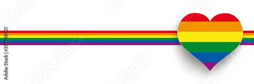 Obraz na płótnie White Big Heart Rainbow Stripes Header 2