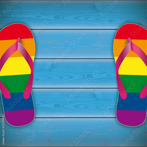 Obraz Rainbow Flip-Flops Wooden Background 2 - fototapety do salonu