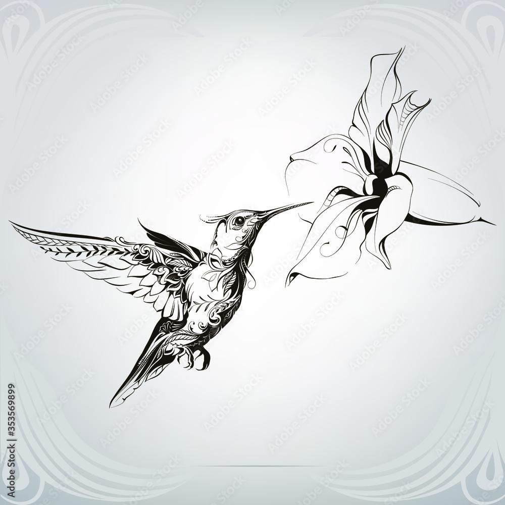 Fototapeta Hummingbird in a floral ornament
