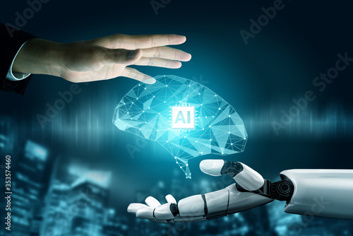 Obraz 3D Rendering futuristic robot technology development, artificial intelligence AI, and machine learning concept. Global robotic bionic science research for future of human life. - fototapety do salonu
