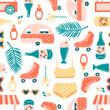 Summer vacation seamless pattern on white. Ice cream cart, palm leaf, sunglasses, musical notes, roller skates, milkshake, swimwear, sunscreen, lemonade.
