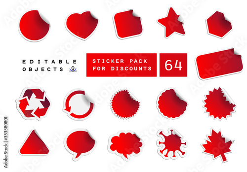 Photo A set of discount stickers of various shapes, such as a circle, oval, rectangle, star, polygon, virus, Communicate talk bubbles and more