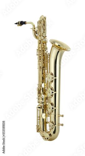 Fotografia Shiny Baritone saxophone, Bari sax, Saxophone Woodwinds Music Instrument Isolate