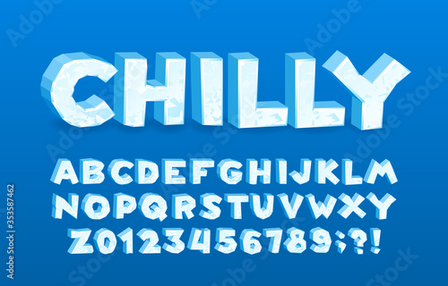Fototapeta Chilly alphabet font. 3D cartoon ice letters and numbers. Stock vector typescript for your typography design. obraz