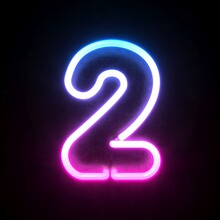 Neon 3d Font, Blue And Pink Neon Light 3d Rendering, Number 2