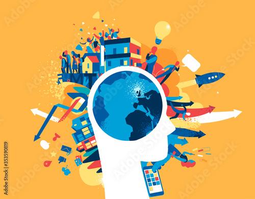 Obraz Attività umane nel mondo moderno. Pianeta come cervello umano. - fototapety do salonu