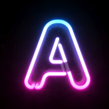 Neon 3d Font, Blue And Pink Ne...