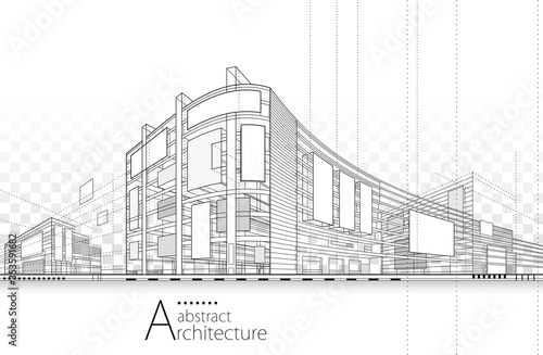 Foto Architecture building construction perspective design,abstract modern urban building line drawing