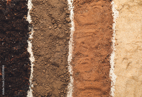 Different types of soil as background Fotobehang