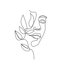 Woman Face One Line Drawing. W...