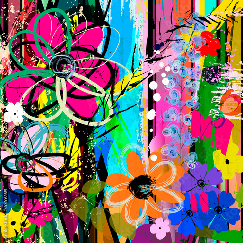 abstract background composition with flowers, with strokes, splashes and geometr Wallpaper Mural