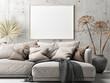Leinwandbild Motiv Mockup poster, Scandinavian Living Room, Comfortable Sofa with pants, 3d render, 3d illustration