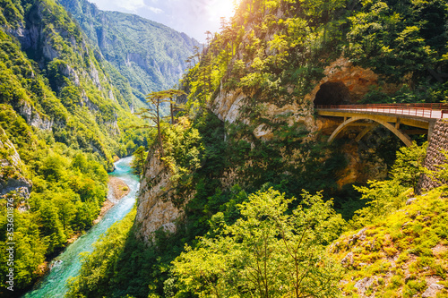 Top view on the great canyon of river Piva. Location place National park Durmitor, Montenegro, Balkans, Europe. #353601876