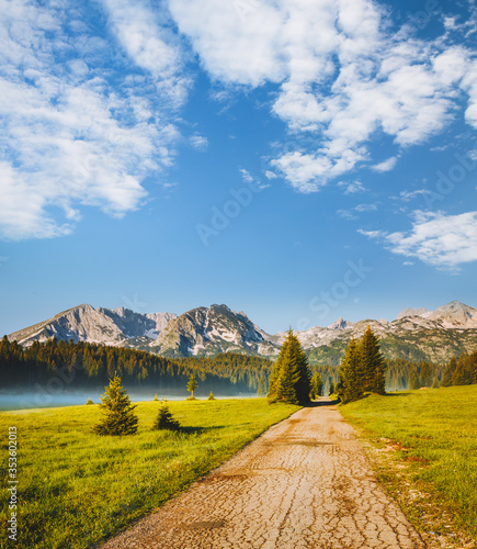 Idyllic alpine valley. Locations place Durmitor National park, Montenegro, Balkans, Europe. #353602013