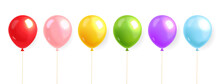 Colored Balloons Set Realistic...