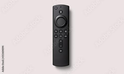 Obraz Black smart remote control on a white background - fototapety do salonu