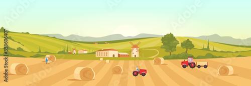 Fototapeta Farmland flat color vector illustration. Village 2D cartoon landscape with green hills on background. Harvesting season. Farmers collecting ripe crops. Italian farm with windmills and tractors obraz