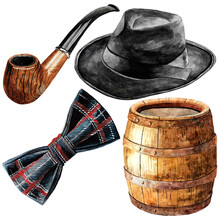 Watercolor Set Of Objects From The Time Of Bootleggers - Tobacco Pipe, Black Hat, Bow Tie, Wooden Wine Barrel. On The White Background