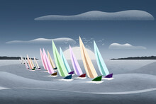 Illustration Of Colorful Sailing Dinghys Racing