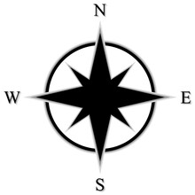 Black Flat Compass Rose With S...