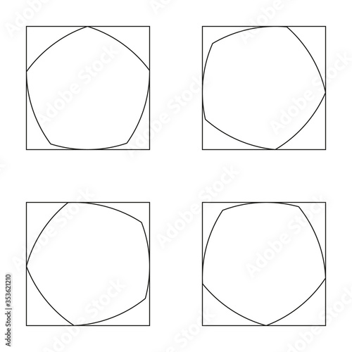 Black Reuleaux pentagons on white background Canvas-taulu
