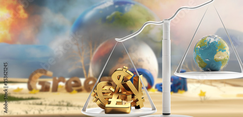 Obraz na plátně concept of Green Deal and a scale with money and planet earth on the other side