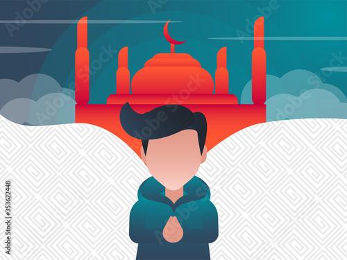 Photo eid mubaraq muslim people mosquee vector stock illustration
